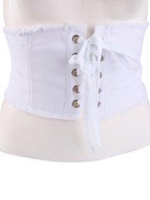 Denim Lace Up Fringed Brim Corset Belt - White