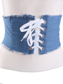 Denim Lace Up Fringed Brim Corset Belt - Light Blue