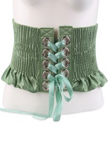 Shimmering Lace Up Pleating Circles Corset Belt - Green