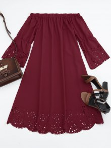 Laser Cut Midi Off The Shoulder Dress - Claret L