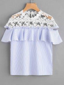 Stripes Ruffles Lace Panel Top - Stripe M
