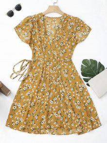 Tiny Floral Mini Wrap Dress - Yellow L