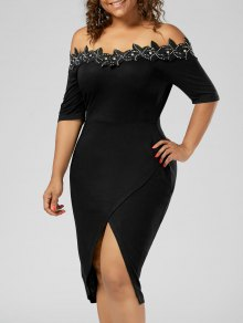 Plus Size Applique Trim Pencil Dress - Black 5xl