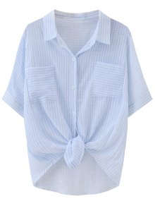 Knotted Striped Pockets Dip Hem Shirt - Stripe