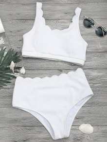 Scalloped High Waisted Bralette Bikini Set - White L
