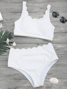 Scalloped High Waisted Bralette Bikini Set - White L