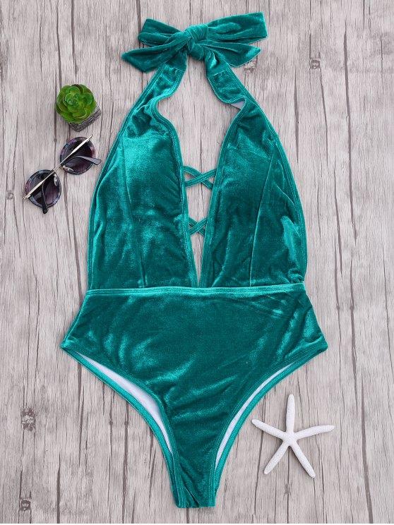 المخملية يغرق عارية الذراعين قطعة واحدة ملابس السباحة - المسرطنة S