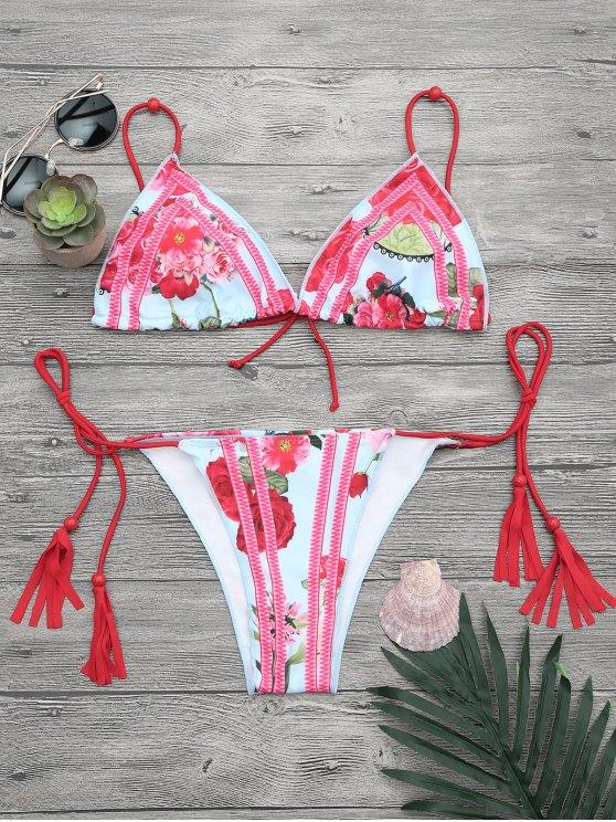 affordable Adjustable Ties Floral String Bikini Set - FLORAL S
