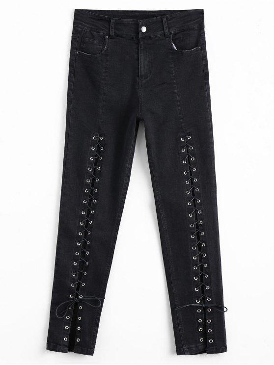 Jeans à cravate à lacets haute taille - Noir L