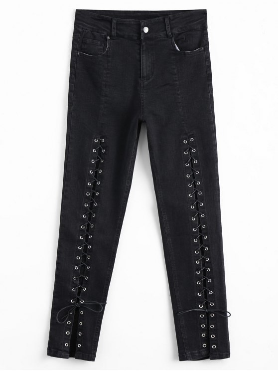 hot High Waisted Lace Up Pencil Jeans - BLACK M