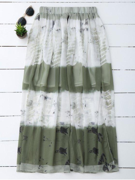 unique Printed Chiffon Slit A Line Skirt - WHITE M