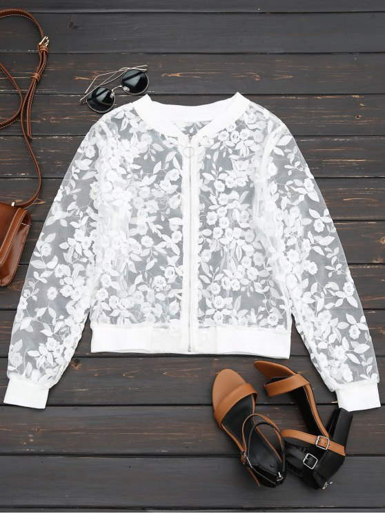 shops Sheer Floral Embroidered Zip Up Jacket - WHITE S