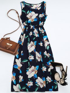 High Waisted Sleeveless Floral Maxi Dress - Purplish Blue Xl