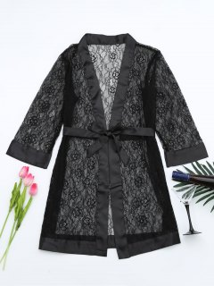 Grosgrain Belt Sheer Lace Sleep Robe - Black