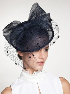 Fascinator Veil Wide Bowknot Cocktail Flax Hat - Deep Blue