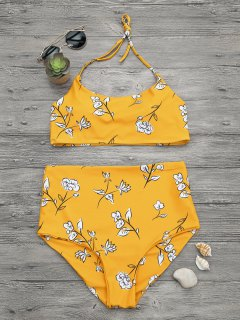 Slimming Control High Waisted Bralette Bikini Set - Mustard M