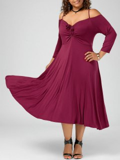 Spaghetti Strap Cold Shoulder Plus Size Party Dress - Wine Red 5xl