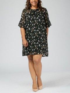 Plus Size Printed Pussy Bow Chiffon Mini Dress - Black 5xl