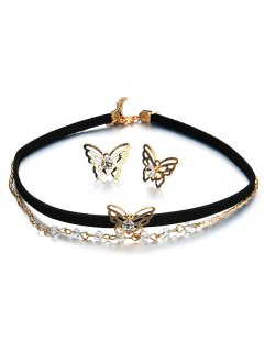 Butterfly Choker Necklace And Earring Set - Black