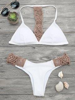 Padded Macrame Fishnet Bikini Set - Khaki S
