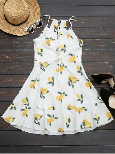 women Ruffles Lemon Lace Up Mini Dress - WHITE S Mobile