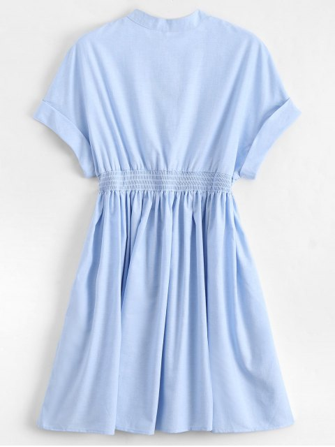 new Smocked Waist Button Up Casual Dress - LIGHT BLUE S Mobile