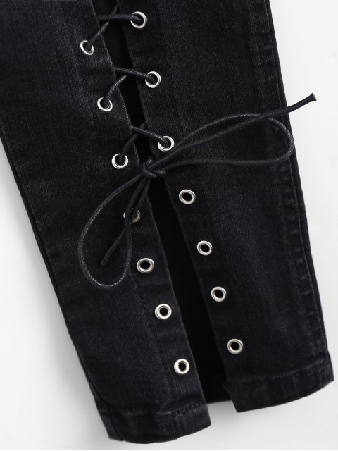 hot High Waisted Lace Up Pencil Jeans - BLACK M Mobile