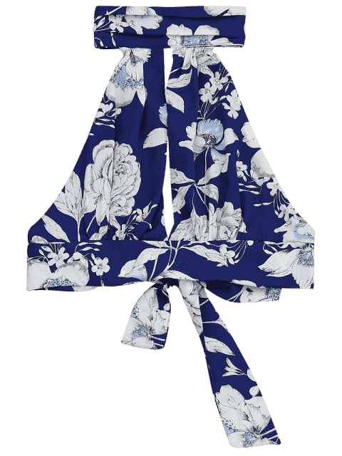outfit Floral Print Cut Out Sleeveless Crop Top - FLORAL S Mobile