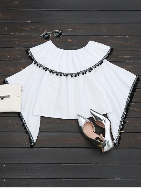 trendy Ruffles Off Shoulder Poms Flare Sleeve Top - WHITE ONE SIZE Mobile