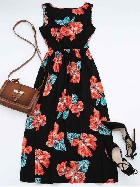 fashion High Waisted Sleeveless Floral Maxi Dress - BLACK S Mobile