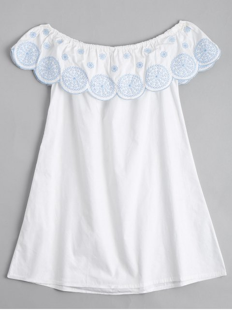 womens Flounce Off The Shoulder Embroidered Dress - WHITE M Mobile