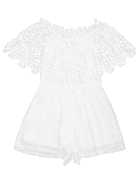 outfit Off The Shoulder Lace Panel Romper - WHITE XL Mobile