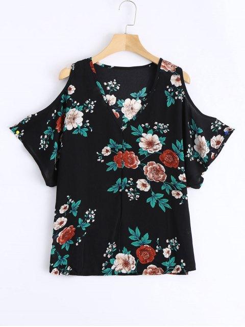 unique Cold Shoulder Floral Print Swing Blouse - BLACK M Mobile
