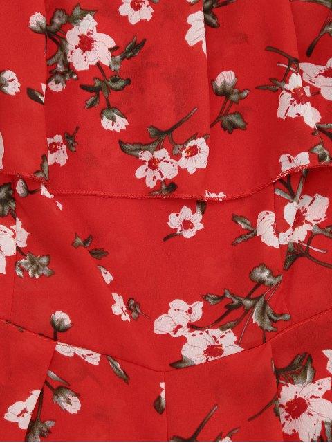 best Off The Shoulder Floral Print Flounce Romper - FLORAL M Mobile
