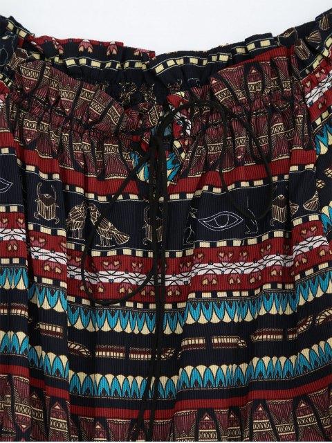 buy Tribal Print Ruffle Hem Embellished Romper - MULTI ONE SIZE Mobile