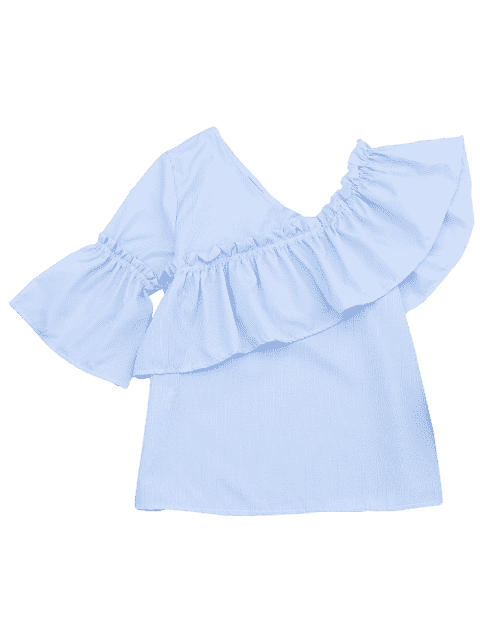 women Ruffle Hem Skew Collar Striped Blouse - LIGHT BLUE XL Mobile