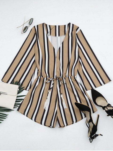 outfits Plunging Neck Tassels Striped Romper - STRIPE L Mobile