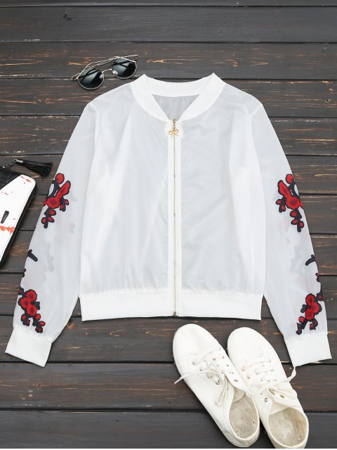 best Floral Print Zip Up Jacket - RED M Mobile
