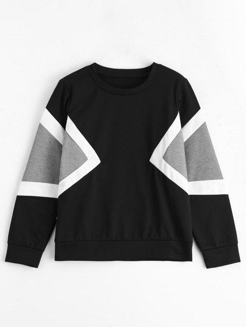 outfits Contrast Long Sleeves Pullover Sweatshirt - MULTI ONE SIZE Mobile