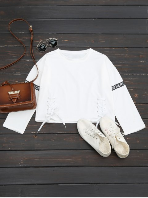 outfits Letter Print Lace Up Sweatshirt - WHITE ONE SIZE Mobile