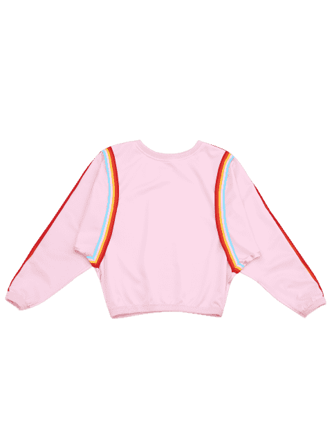 unique Crew Neck Contrast Sweatshirt - PINK ONE SIZE Mobile