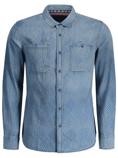 womens Mirco Patterned Washed Mens Denim Shirt - INDIGO 2XL Mobile