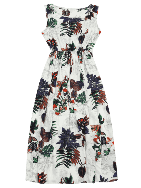 sale High Waisted Leaf Print Maxi Dress - FLORAL L Mobile