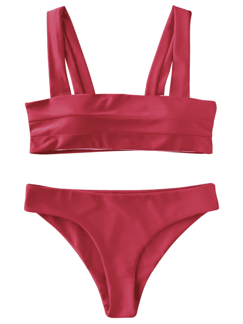 fancy Padded Wide Straps Bandeau Bikini Set - RED L Mobile