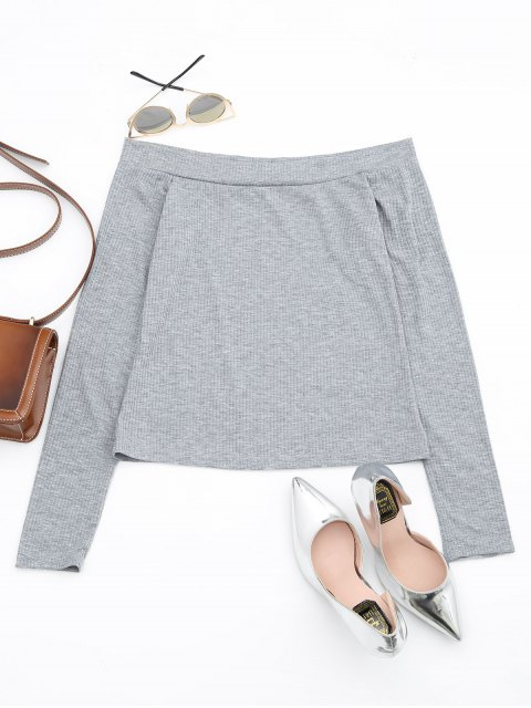 lady Off The Shoulder Long Sleeve Crop Tee - GRAY L Mobile