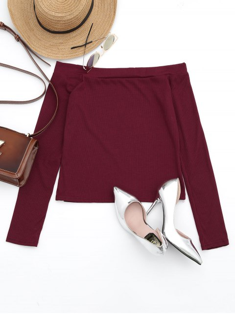 fashion Off The Shoulder Long Sleeve Crop Tee - DARK RED S Mobile