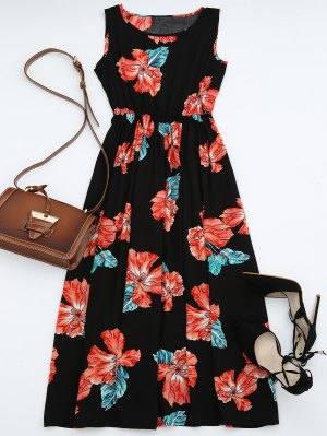 High Waisted Sleeveless Floral Maxi Dress - Black M