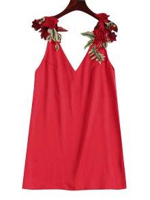 Vestido Floral Con Estampado Floral - Rojo L