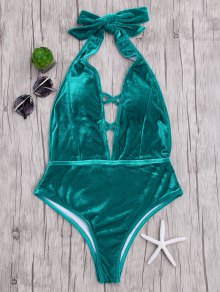 Velvet Plunge Backless One Piece Swimsuit - Malachite Green S
