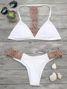Padded Macrame Fishnet Bikini Set - White S